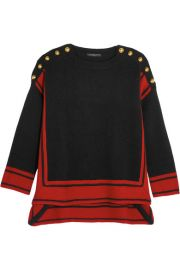 Alexander McQueen   Button-embellished two-tone cashmere sweater at Net A Porter