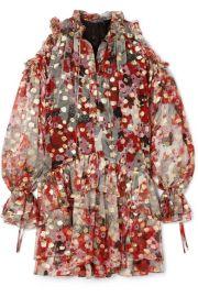 Alexander McQueen - Cold-shoulder metallic fil coup   silk-blend chiffon mini dress at Net A Porter