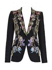 Alexander McQueen - Crystal-Embellished Floral Embroidered Blazer at Saks Fifth Avenue
