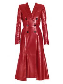 Alexander McQueen - Double-Breasted Leather Coat at Saks Fifth Avenue