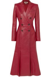 Alexander McQueen - Double-breasted pleated leather coat at Net A Porter