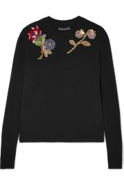 Alexander McQueen   Embellished embroidered wool sweater at Net A Porter