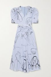 Alexander McQueen - Gathered printed silk crepe de chine midi dress at Net A Porter