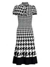 Alexander McQueen - Houndstooth Fit- amp -Flare Silk Midi Dress at Saks Fifth Avenue