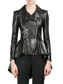 Alexander McQueen - Leather Peplum Jacket at Saks Fifth Avenue