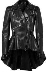 Alexander McQueen - Leather peplum biker jacket at Net A Porter
