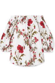 Alexander McQueen - Off-the-shoulder floral-print cotton-poplin top at Net A Porter