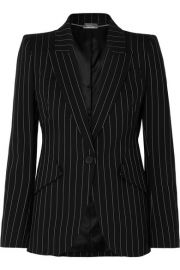Alexander McQueen - Pinstriped wool-blend blazer at Net A Porter
