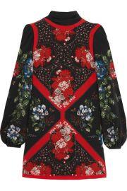 Alexander McQueen   Printed silk crepe de chine mini dress at Net A Porter