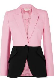 Alexander McQueen - Two-tone wool-blend blazer at Net A Porter