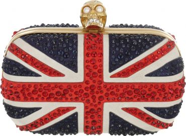 Alexander McQueen   x27 Britannia  x27  Union Jack Crystal Skull Clutch   Nordstrom at Nordstrom