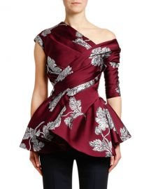 Alexander McQueen Asymmetric Northern-Rose Brocade Top at Bergdorf Goodman