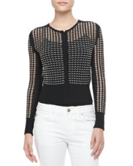 Alexander McQueen Bicolor Scalloped Lace Cardigan at Neiman Marcus