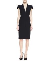 Alexander McQueen Cap-Sleeve Deep V-Neck Dress Black at Neiman Marcus