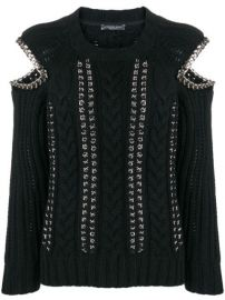 Alexander McQueen Chain Detail Cold Shoulder Sweater - Farfetch at Farfetch