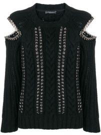 Alexander McQueen Chain Detail Cold Shoulder Sweater - Farfetch at Farfetch