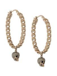 Alexander McQueen Chain Skull Hoop Earrings - Farfetch at Farfetch