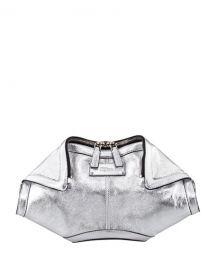 Alexander McQueen De-Manta Metallic Leather Clutch Bag  Silver at Neiman Marcus