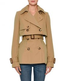 Alexander McQueen Double-Breasted Cotton Short Trench Coat at Neiman Marcus