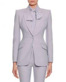 Alexander McQueen Fitted Flap-Pocket Wool-Silk Blazer at Neiman Marcus