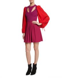 Alexander McQueen Harness Cutout-Front Balloon-Sleeve Fit-and-Flare Mini Dress at Neiman Marcus