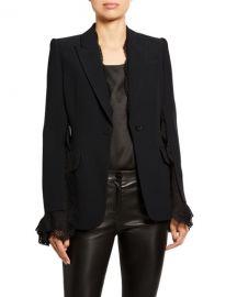 Alexander McQueen Lace-Trim Leaf Crepe Blazer at Neiman Marcus