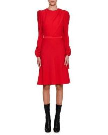Alexander McQueen Long-Sleeve Crepe Draped-Bodice Dress  Scarlet at Neiman Marcus