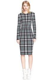 Alexander McQueen Long Sleeve Plaid Sheath Dress at Nordstrom