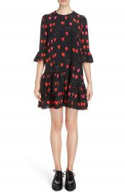 Alexander McQueen Petal Print Silk Ruffle Dress at Nordstrom