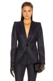Alexander McQueen Pinstripe One Button Jacket in Navy   Ivory   FWRD at Forward
