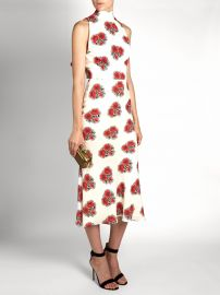 Alexander McQueen Poppy-print ruffled-back high-neck crepe dress at Matches
