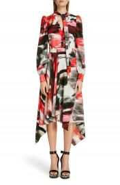 Alexander McQueen Rose Print Silk Asymmetrical Long Sleeve Dress   Nordstrom at Nordstrom