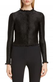 Alexander McQueen Ruffle Trim Ribbed Cardigan   Nordstrom at Nordstrom