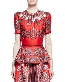 Alexander McQueen Short-Sleeve Paisley-Print Silk Peplum Top  Red Brown at Neiman Marcus