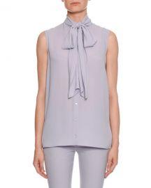 Alexander McQueen Sleeveless Bow-Neck Button-Front Blouse at Neiman Marcus