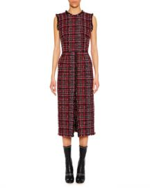 Alexander McQueen Sleeveless Tweed Slit-Front Midi Pencil Dress at Neiman Marcus
