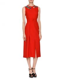 Alexander McQueen Sleeveless Wool-Silk Midi Sheath Cocktail Dress at Neiman Marcus