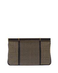 Alexander McQueen Studded Hexagon Frame Clutch Bag Black at Neiman Marcus
