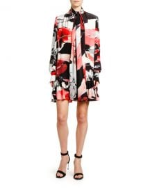 Alexander McQueen Torn Rose-Print Crepe de Chine Tie-Neck Dress at Neiman Marcus