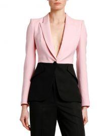 Alexander McQueen Two-Tone Light Wool-Silk Jacket at Neiman Marcus