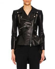 Alexander McQueen Zip-Front Peplum Leather Moto Jacket   Neiman at Neiman Marcus