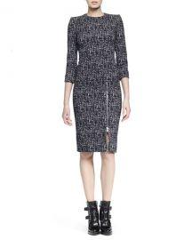 Alexander McQueen Zip-Hem Printed Sheath Dress at Neiman Marcus