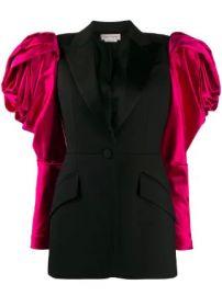 Alexander McQueen exaggerated shoulder single-breasted blazer exaggerated shoulder single-breasted blazer at Farfetch
