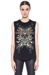 Alexander McQueen floral skull tee at Forward by Elyse Walker