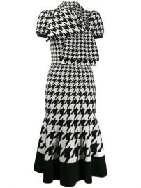 Alexander McQueen tie-neck Houndstooth midi-dress - Farfetch at Farfetch
