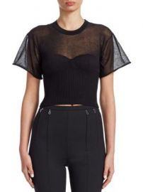 Alexander Wang - Cropped Tee With Integral Bra Cups at Saks Fifth Avenue