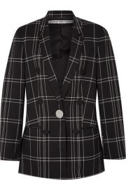 Alexander Wang - Leather-trimmed checked woven blazer at Net A Porter