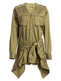 Alexander Wang - Tie-Front Cargo Cotton Trench Romper at Saks Fifth Avenue