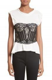 Alexander Wang Cotton Top with Lace Bustier at Nordstrom