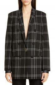 Alexander Wang Leather Cuff Oversized Plaid Blazer   Nordstrom at Nordstrom